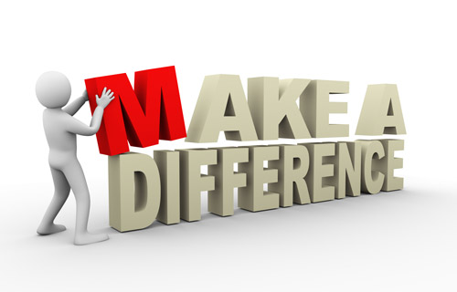"Graphic showing the three-dimensional text ""Make a difference"" being constructed by a person"